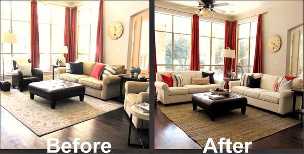 home staging vs interior design red curtains